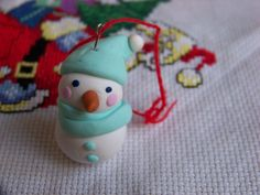Cute snow man in polymer clay xmas decoration by LGdreams on Etsy