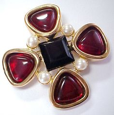 Most Fabulous 1970's Vintage Poured Glass Rhinestone Pin Signed Givenchy | eBay