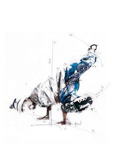 Nesta nova e impressionante série de ilustrações, o francês Florian Nicolle incorpora vetores e equações matemáticas às cores livres da aquarela para retratar a física complexa da breakdance. Os tr…