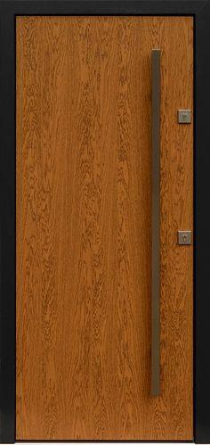 Dębowe wejściowe drzwi zewnętrzne 500C zloty dab + antracyt