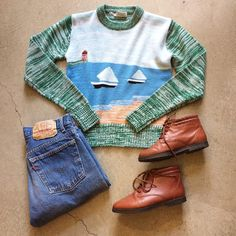 """70's Space Knit Sweater $48+$16(shipping) domestic. Size XS (21""""x17""""). Cropped Levi's 501  W:27. $54+$16(shipping) & Sporto Ankle Boots size 5.5. $28+$16(shipping) domestic. Contact the shop at 415-796-2398 to purchase by phone or PayPal afterlifeboutique@gmail.com and reference item in post."""
