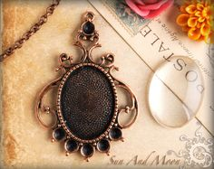 Vintage Cabochon Setting - 22x30mm Setting from Sun And Moon Craft Kits