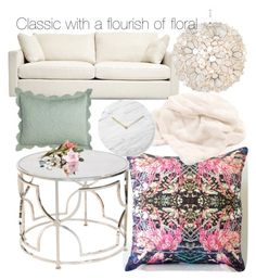 Residential design. Classic with a touch of bold floral. by shelley-louise-mccall on Polyvore featuring polyvore, interior, interiors, interior design, home, home decor, interior decorating, Worlds Away, Amity Home and Menu