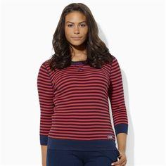 Lauren Ralph Lauren Plus Size Three-Quarter-Sleeved Striped Waffle-Knit Cotton Hoodie #VonMaur #LaurenRalphLauren #Red #Navy #ThreeQuarterSleeve