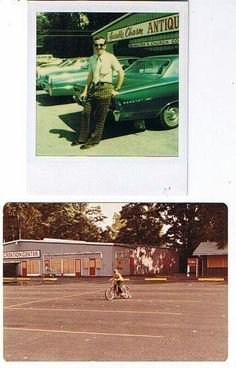 Walt Page in front of the old Antique Auto Museum, and Kevin Page learning to ride a bike in the upper parking lot in off season