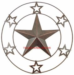 18 Metal Barn Star Tin With Texas Stars Rope Ring Rustic Brown Finish Non Rust