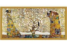 Wandbild, Größe 106x56 cm, »KLIMT - Der Lebensbaum«. Ein trendiges Wandbild für den modernen Einrichtungsstil. Hochwertige Drucktechnik. Mit goldfarbenem Bilderrahmen aus MDF, 3 cm breit. Kunstdruck im hochwertigen Offset-Druck hergestellt. Feucht abwischbar. Mit Aufhänger und Abstandshalter. Geringes Gewicht....