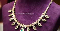 Adorn yourself with this gorgeous traditional mango motifs design diamond necklace set in a gold close setting and look absolutely glamorous. Latest Jewellery, Bridal Jewellery, Gold Jewellery, Beaded Jewelry, South Indian Jewellery, Indian Jewelry, Latest Gold Design, Mango Necklace, Diamond Necklace Set