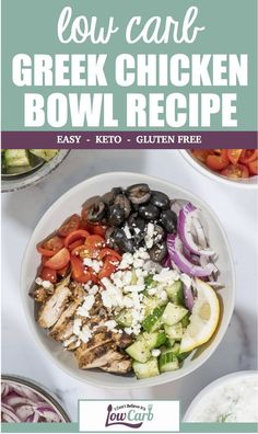 Low Carb Greek Chicken Bowl Low Carb Greek Chicken Bowls meet all of your family's needs. It is already gluten free, and you can make your own dairy free option! Add whatever vegetables you and your family like to make it perfect for YOU! Dairy Free Low Carb, Dairy Free Recipes, Diet Salad Recipes, Soup Recipes, Dessert Recipes, Healthy Low Carb Recipes, Best Low Carb Meals, Healthy Food, Healthy Eating