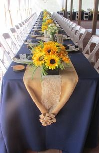 Navy, Lace, Sunflowers, Burlap Wedding Table Setting By Emileesjourney.com at Cross Creek Ranch, Dover, FL