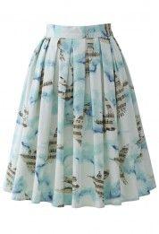 Flying Melody Bird Print Pleated Skirt