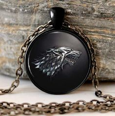 Game of Thrones Necklace Pendant  House of Stark Black Wolf Jewelry Gothic Glasses Pendant Necklace  Sweater Chain Gift For Kids - Animetee - 1