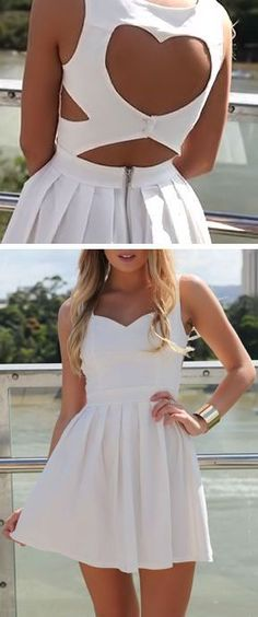 White Heart Cutout Dress ♥:
