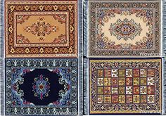 Dollhouse Furniture - Miniature Woven Dollhouse Carpet  Set of 4  Dolls House Rugs ** Click on the image for additional details.