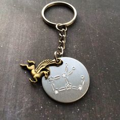 Now available! Pegasus Constellation Handstamped Keychain // Astronomy & Greek Mythology inspired // by YeOldStampingGrounds on Etsy