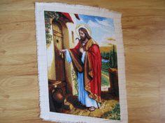 Hand Made Needlepoint Tapestry -Jesus Knocking At the Door, Religious Gobelin, Hand sewn Tapestry, Handmade Wall Art Needlecraft, Needlework
