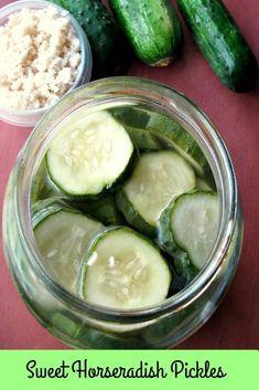 Sweet Horseradish Pickles are sweet and hot pickles made with fresh chopped horseradish and honey. They are easy to make refrigerator pickles ready to eat in three days. Sweet Horseradish Pickles Recipe, Spicy Pickles, Homemade Pickles, Sweet Pickles, Mustard Pickles, Creamy Cucumber Salad, Creamy Cucumbers, Pickling Cucumbers