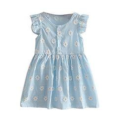 361e562ba31 Cute Baby Girls Dress A-Line Ruffle Sleeve Children Princess Summer Dress  Kids Girls Cotton Bow Decor Clothes Blue Pink