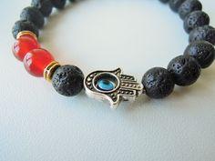 Mens Jewelry, mens bracelet, Protection Bracelet, Hamsa evil eye bracelet, Good luck bracelet , lava bracelet ,Fatima, Kabbalah Hand Charm by ebrukjewelry on Etsy