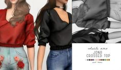 Jona Crossed Top by Volatile Sims for The Sims 4