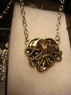 Small Clockwork Gears and Octopus Heart by ClockworkAlley on Etsy, $21.00  #steampunk #steampunkjewelry #octopus #heart #gears #necklace