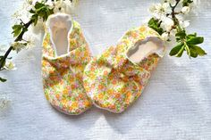 Spring floral baby girl soft sole baby shoe Cotton by SweetSwaddle