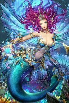 Merfolk by sammihisame Mermaid Artwork, Mermaid Drawings, Mermaid Tattoos, Anime Mermaid, Mermaid Fairy, Elfen Fantasy, Anime Fantasy, Fantasy Mermaids, Mermaids And Mermen