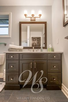 bathroom vanity. I like the shape and set up of this vanity.... but not the color, lights, or mirror! LOL