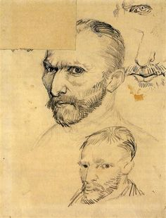 "vincentvangogh-art:  ""  Two Self-Portraits And Several Details 1886  Vincent van Gogh  """