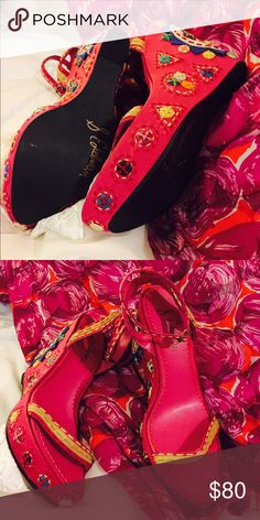 Sam Edelman pink leather wedge sandals These pink leather wedge sandals with hand cut and embroidered pieces of leather are wild and beautiful enough to hang on the wall, but don't- just wear them and Everyone will want to know... Sam Edelman Shoes Platforms