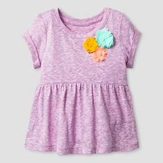 Baby Girls' Short Sleeve Peplum T-Shirt Baby Purple - Cat & Jack™ Toddler Girl Shorts, Baby Girl Tops, Cute Baby Girl, Toddler Girls, Peplum Shirts, Little Fashionista, Baby Shirts, Kids Fashion, Girl Outfits