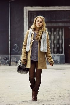 coat, scarf, sweater, tights, boots, fall, winter, fashion