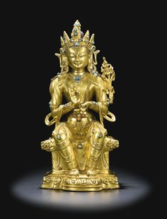 A gilt-bronze figure of Maitreya, Tibet, 16th century