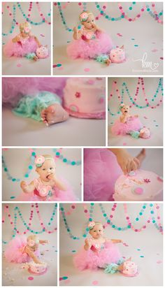 Pink and teal first birthday cake smash photography