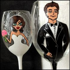 Bridal Wedding Party Hand Painted Wine Glass Party by AlenaShop, $32.00