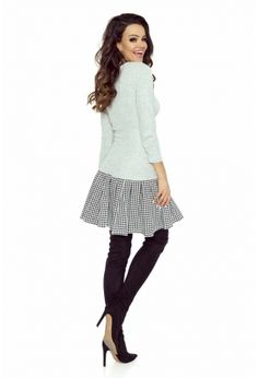7699d0df45 Pleated bottom dress with a Scottish blue check