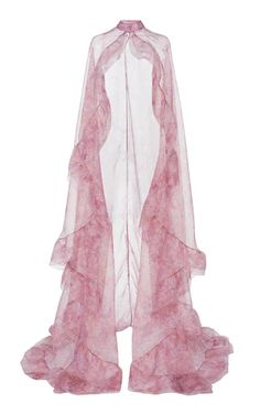 Costarellos Floral-patterned Organza Cape In Pink Pretty Outfits, Pretty Dresses, Beautiful Dresses, Stage Outfits, Mode Outfits, Look Fashion, High Fashion, Fashion Design, New Mode
