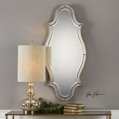Donatella Curved Sided Gold Mirror Uttermost Wall Mirror Mirrors Home Decor