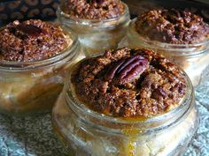 Pecan Pie in a Mason Jar - chopped pecans - butter - 5 large eggs - sugar - dark Karo syrup - light Karo - vanilla - salt - heavy cream