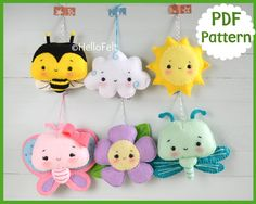 PDF Pattern Set of 6 Bee and sun Butterfly and flower