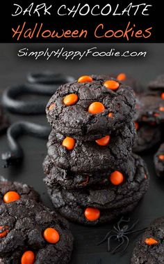 Dark Chocolate Halloween Cookies make a creepy and tasty treat! The dark as nigh. - Cookie CravingsDark Chocolate Halloween Cookies make a creepy and tasty treat! The dark as night chocolate cookies are the perfect spooky backdrop for pumpkin oran Halloween Brownies, Halloween Desserts, Comida De Halloween Ideas, Halloween Torte, Dulces Halloween, Postres Halloween, Halloween Cookie Recipes, Hallowen Food, Halloween Party Snacks