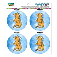 Cute Yellow Dragon Fantasy Medieval on Blue MAG-Neato's(TM) Car/Refrigerator Magnet Set