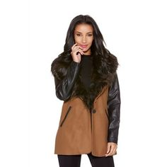 Quiz Tan wool pu sleeve faux fur collar coat- at Debenhams.com