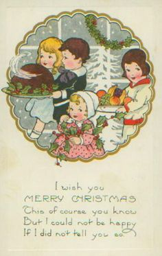 retro Christmas dinner card