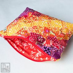 Scrappy patchwork pouch