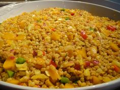 Refreshing Cape Malay wheat salad with a sweet/tangy curry dressing and yellow peaches. Braai Salads, Fruit Salads, African Salad, South African Recipes, Ethnic Recipes, Rabbit Food, Vegetable Salad, Summer Salads, Summer Food
