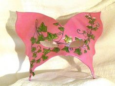 Classic Mardi Gras Mask Alpha Kappa Alpha Deep Pink with Embossed Ivy Design....Fat Tuesday 2/12/13