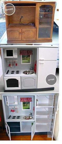 54 Ideas For Kids Furniture Playroom Play Kitchens Play Kitchens, Diy Play Kitchen, Tv Stand To Play Kitchen, Childs Kitchen, Diy Kitchen For Kids, Kid Kitchen, Kitchen Ideas, Kitchen Decor, Repurposed Furniture