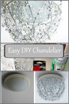 Diy Chandelier From A Hanging Plant Basket I Would Never Have Thought To Do This This Crafter Upcycled An Existing Light Fixture Into A Chandelier With Some Beads Spray Paint And A Wire Plant Basket So Clever How To Make A Chandelier, Diy Chandelier, Chandeliers, Chandelier Makeover, Ceiling Fan Makeover, Chandelier Crystals, Chandelier Bedroom, Upcycled Crafts, Diy And Crafts