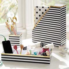 Printed Desk Accessories- Black/White Stripe With Gold Trim | PBteen